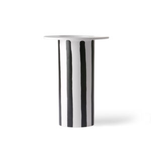 CERAMIC VASE BLACK/WHITE STRIPE
